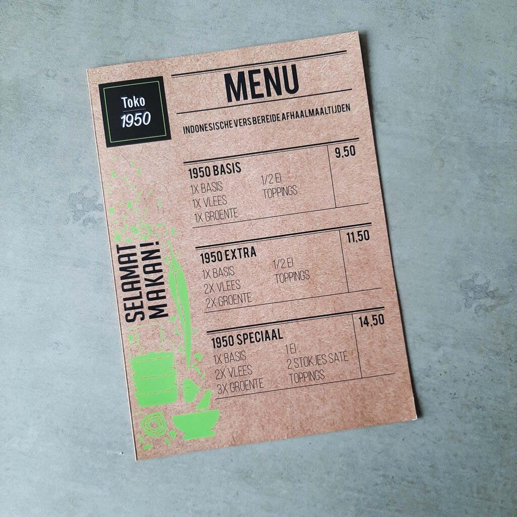 menukaart TOKO 1950 _ front