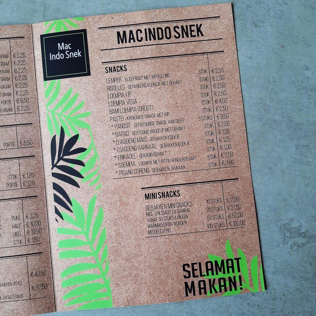 menukaart 'mac indo snek'